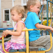 Stock Photo: Quarrel boy and girl sit on bench