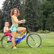Mother and daughter on bicycle — Stock Photo