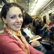 Girl in subway metro — Stock Photo