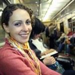 Girl in subway metro — Stock Photo