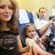 Family airplane salon — Stock Photo