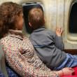 Mother child airplane — Stock Photo