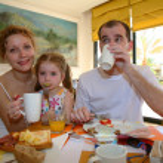 Family dinner breakfast — Stock Photo