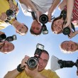 Six friends with cameras — Stock Photo