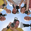 Stock Photo: Six friends with cameras