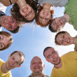Nine friends are in a circle — Stock Photo
