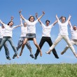 Seven friends in white T-shorts swing hands in a jump — Stock Photo #7435508