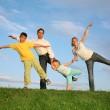 Training family grass sky — Stock Photo