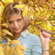Blue-eyed blond among yellow leaves — Stock fotografie
