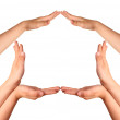 Childrens hands house gesture — Stock Photo