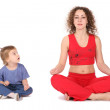 Yoga woman with baby — Stock Photo #7437503