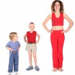 Sport mother with children — Stock Photo #7437517