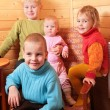 Children in wood house — Stock Photo