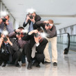 Paparazzi with flashes - Stock Photo