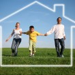 Family grass sky. dream house — Stock Photo