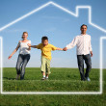 Family grass sky. dream house — Stock Photo #7437666