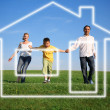 Family grass sky. dream house - Stock Photo