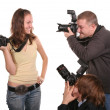 Stock Photo: Three photographers