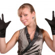 Young woman in black gloves — Stock Photo