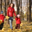 Mother goes for a walk with the children in the park in autumn with yellow — Stock Photo #7437895