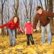 Father and mother with the son in the park in autumn — Stock Photo #7437914