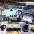 The place of commentator on the sport competition is working - Stockfoto