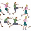 Jumping running children render — Stock Photo