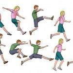 Jumping running children render — Stock Photo