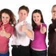 Group of friends make gestures isolated on white - Stock Photo