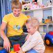 Father and child in playroom 3 — Foto de Stock