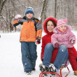 Mother with children in park at winter — Stock Photo