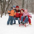 Family in forest at winter — Stock Photo #7438553