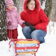Mother with child in park at winter 3 — Stock Photo