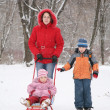 Mother with sled and children in park at winter - Foto Stock