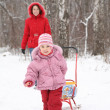 Child with sled and mother in park at winter - 图库照片