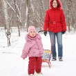 Child with sled and mother in park at winter 2 - 图库照片