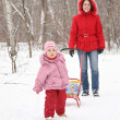 Child with sled and mother in park at winter 2 - Foto Stock