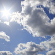 Real sun on cloud sky — Foto de Stock