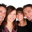 Four friends faces close-up — Stock Photo