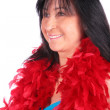 Woman in red feather shawl 2 — Stock Photo #7439167