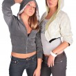 Two girls in hoods — Stock Photo