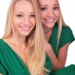 Twin girls faces close-up — Stock Photo #7439438