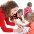 Mother with children drawing — Stock Photo