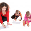Mother with children drawing 2 — Stock Photo