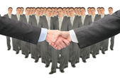 Shaking hands and big business group collage — Stock Photo