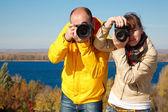 Mann und mädchen fotografiert — Stockfoto