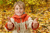 Boy in autumn park — Foto de Stock