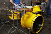 Rock band is working in studio — Stock Photo