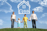Family of four dreams about the house, collage — Stock Photo