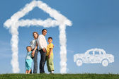 Family of four dreams about house and car, collage — Stock Photo